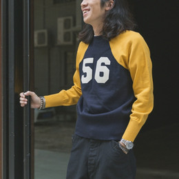 Wholesale two tone jumper online – oversize Bronson No Racing Knit Sweater Men s Rugged Motorcycle Two Tone Raglan Jumper
