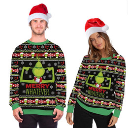 Wholesale man christmas sweaters for sale – oversize Unisex Christmas Costume Cartoon Animation D Digital Printing Fashion Long sleeved Shirt Hooded Ugly Christmas Sweater