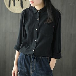 cute spring blouses 2021 - Womens Cotton Linen Shirt Blouse Big Loose Solid White Black Sweet Cute Fashion Casual for Spring Summer AZ215315261