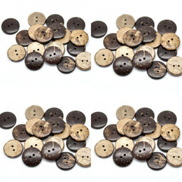 "Wholesale 100PCs Brown Coconut Shell 2 Holes Wood Sewing Buttons Scrapbooking 20mm(3 4"")Dia. (B18437) 11 J2"