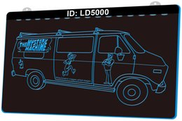 Wholesale mystery machine for sale - Group buy LD5000 Mystery Machine Scoobypedia D Engraving LED Light Sign Colors Retail Free Design