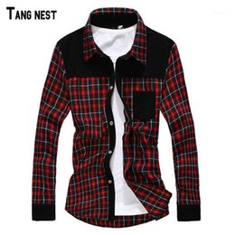 blue red checkered shirt UK - TANGNEST 2021 New Arrival Men Spring Design Corduroy Plaid Shirts High Quality Checkered Long Sleeve Dress Red Blue Navy MCL6241