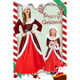 Wholesale girl sexy hat resale online - Santa Claus Cosplay Christmas Queen Costume Adult Sexy Women Cosplay Girls Costume Red Christmas Mini Fancy Dress and Hat U31