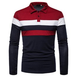 Wholesale polo long sleeved for sale - Group buy 2020 Autumn and Winter New Fashion Three color Stitching Men s Casual Long sleeved Polo Shirt