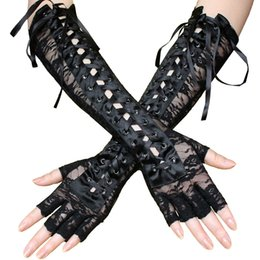 striped long arm warmer Canada - Women Floral Half Finger Gloves Long Elbow Lace Up Steampunk Party Costume Arm Warmer Sexy Club Ribbon Mittens