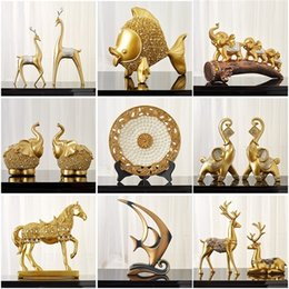 elephant gift craft NZ - Chinese Feng Shui Golden horse Elephant statue decoration success home crafts Lucky Wealth Figurine office desk Ornaments Gift 201210