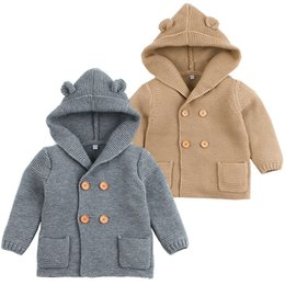 formal clothes for baby boys UK - Winter Sweaters for Baby Girls Cardigans Autumn Hooded Newborn Boys Knitted Jackets Cartoon Bear Children's Long Sleeve Clothing