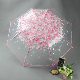 vision designer 2020 - Fold Umbrella Transparent Umbrellas For Protect Against Wind And Rain Clear Sakura Clear Field Of Vision Household Rain