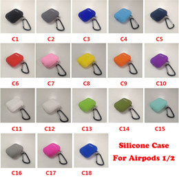 Toptan satış Airpods için Yumuşak Silikon Kılıf 1/2/3 Mini Ince TPU Kablosuz Bluetooth Kulaklık Kapak Airpods Pro 4 Mini Metal Kanca Ile