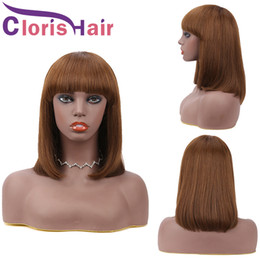 Discount peruvian lace wigs Short Bob Human Hair Wig Peruvian Remy Straight Blunt Cut Non Lace Glueless Wigs For Black Women #4 Dark Brown Full Mach