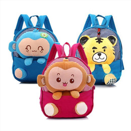 bags monkey 2021 - Cartoon Cute Book Bag Bags For New Tiger Dolls Kindergarten Cotton Backpack Mini Baby Toddler Kids Monkey School Soft Gi