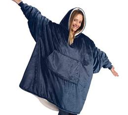 Wholesale knitted robes resale online - Winter Outdoor Hooded Pocket Blankets Warm Soft Hoodie Slant Robe Bathrobe Sweatshirt Pullover TV Fleece Blanket With Sleeves
