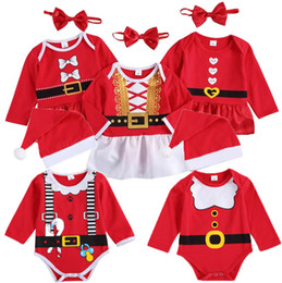 Wholesale 2pc dresses for sale - Group buy Christmas Santa Baby Rompers Girls Boys Cartoon Santa Dress Jumpsuits Headbands Hat Pc Outfits Clothes Xmas Santa Claus Red Set M3028