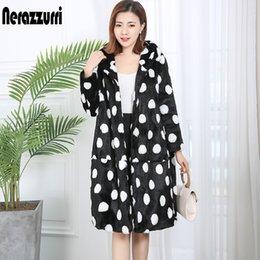 Wholesale faux fur lined hood resale online - Nerazzurri Contrast Color Polka Dot Winter Coat Women with Hood Oversized Loose Warm Plus Size Fluffy Faux Fur Jacket