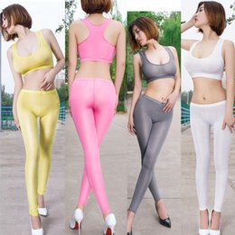 Wholesale exotic clubwear for sale – halloween Candy Color Wetlook Hot Sexy Glossy Transaprent Exotic Pant Low Waist Elastic Wet Look Leggings Pencil Pants Pole Dance Clubwear