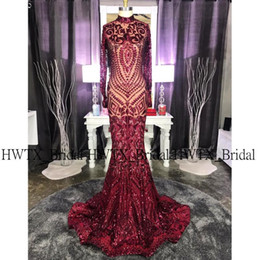 Discount polyester prom dress Sparkly Long Prom Dresses 2020 High Neck Long Sleeve Sexy Mermaid Burgundy African Sequin Black Girl Prom Dress Graduati