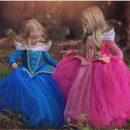 sleep clothes for kids Canada - Princess Aurora Role-play Clothes Sleeping Beauty Dress For Child Kids Party Cartoon Gown Fantasia Infantil Girls Long Dresses pPTK#