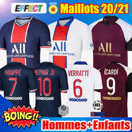 Maillots de Foot Air Jordan PSG 20/21 MBAPPE KITS NEYMAR JR Paris Saint Germain ICARDI CAVANI Survetement Maillot de Foot 2020 2021 Ensembles Enfants Jerseys