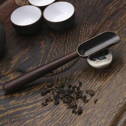 Venta al por mayor de Cuchara de té Pala con mango Cuchara de aleación Café Potencia Cuchara de azúcar Hojas de té Soporte para el Soporte Accesorios de té DHD3879