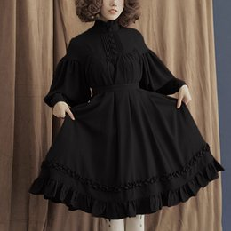 Wholesale lolita gothic dress online – ideas 35 Vintage Elagant women dress gothic style lantern long sleeve dress Dress lace up Cute sweet lolita female dresses