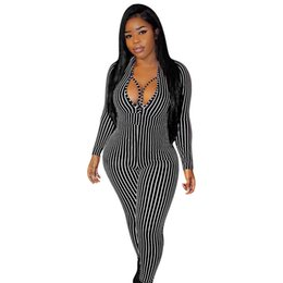 Sexy Hollow Out Womens Rompes Casual Skinny Jumpsuits Skinny Skinny Jumpsuits V Cou Designer Vêtements pour femmes