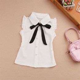 Wholesale girls white blouse lace resale online - Girls Summer Top Children Sleeveless White Blouses Black Bow Shirts for Teenage School Girl Chiffon Lace Blouse Years LJ200819