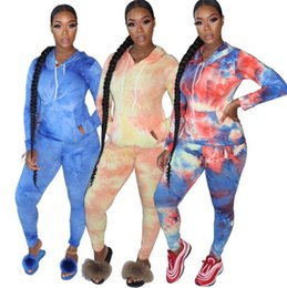 Wholesale jogger outfits womens resale online – Long Sleeve Womens Tracksuit Tie dye Hoodies Tops and Pants Leggings Two Piece Outfits Sports Casual Hooded Jogger set Clothing LY10133