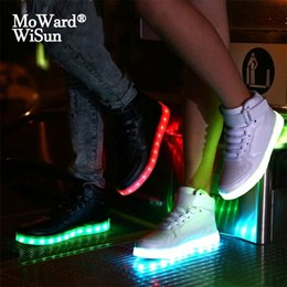 shoes size for children Canada - Size 25-42 USB Charged Children Luminous Sneakers Baskets LED Glowing Shoes with Light Up Sole for Kids Boys Girls LED Slippers 201112