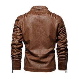 Wholesale wool leather motorcycle jacket resale online - Mens Winter Leather Jacket Motorcycle Biker Leather Coats Male Outerwear Fashion Warm Thicken Faux Wool Liner Jacket M XL
