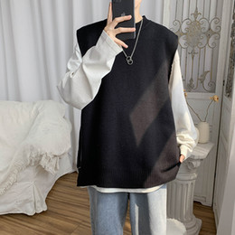 Wholesale ripped sweaters men resale online – Sweater Vest Men Solid Side slit Ripped Spring autumn New Ins Fashion Leisure Sweaters Simple All match Students Vintage Ulzzang
