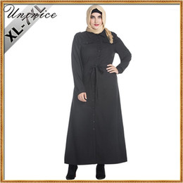 Wholesale turkish muslim clothing resale online - Muslim Dress Black Plus Size Abaya Women Turkish Arab Clothing Islamic Robe Long Sleeve Islamic with Sashes Shirt Long Cardigans1