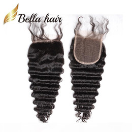 sample wave Canada - Bella Hair? Retail Sample 8A Human Hair Closure 4*4 Straight Body Wave Loose Deep Curly Water Wave Natural Wave 8-26inch Top Lace Closures