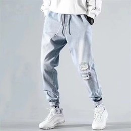 Wholesale designer jean trousers men for sale – denim Fashion Casual Men s Denim Pants Trousers Solid Color Patchwork Ankle Banded Elastic Waist Drawstring Man Harem Jeans Light Blue