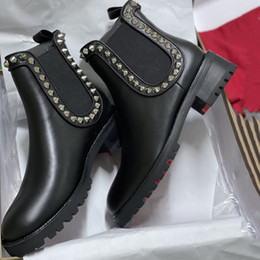 rhinestone flat ankle boots 2021 - Women Capahutta Ankle Boots Chasse a Clou Leather Red Bottom Flat Shoes Top Qualty Spikes and Studs Boots Fashion Girl S