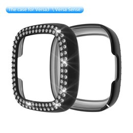 fitbit watches women UK - Fashion Two Rows Diamond PC Cover for Fitbit versa3 sense Bumper Women Bling Protector Frame 360 Degree TPU Watch Case