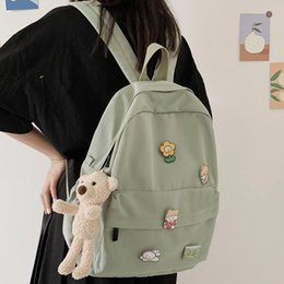 bag lady dolls 2020 - Women Nylon Cute Backpack Bear Female Student College School Bag Badge Girl Doll Backpack Kawaii Book Ladies Fashion Bag