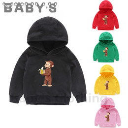 monkey sweatshirts hoodies UK - Children Hooded Hoodies Kids Curious George Monkey Cartoon Sweatshirts Baby Pullover Tops Girls Boys Funny Cute Clothes,KMT5266 Y200831