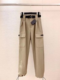 Wholesale sequins pants for sale - Group buy 2020 women pants work retro luxury trousers Dirt resistant and easy to clean Classic triangle leather embroidery Double buckle pants