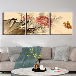 popular art oil painting UK - 3 Piece Still Life Butterfly Flower Pictures Wall Art Painting On Canvas Home Decor Popular Canvas Pictures For Living Room