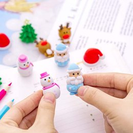 christmas pencils erasers Canada - Christmas character eraser creative elementary school prizes cartoon eraser christmas hat snowman shape give gifts wholesale 2021 new hot
