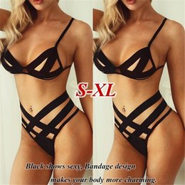 Discount wholesale spaghetti strap bra top Women's Sexy Cut-out Lingerie Suit Spaghetti Strap Top with High Waist Brief, Solid Hollow Bandage Underwear Set Erotic clothing