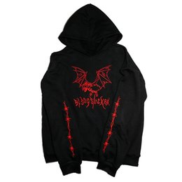 schwarze metall-sweatshirts großhandel-Coole Mode Casual Gothic Ziege Demon Bat Stickerei Pollock Black Sweatshirt Heavy Metal Style Hoodies Sudadera Punk Fleece