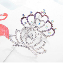 Wholesale Crystal diamond crown Tiara Comb Flower Girl Princess Hair Comb head wear girl birthday gift fashion jewelry will and sandy new