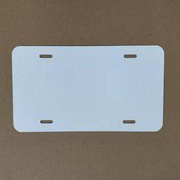 Sublimation Aluminium Plaque d'immatriculation en aluminium vierge Feuille d'aluminium blanc DIY TRANSFERT THERMIQUE PLAQUES PLAQUES PERSONNALES LOGO 15 * 30CM 4 THOLES en Solde