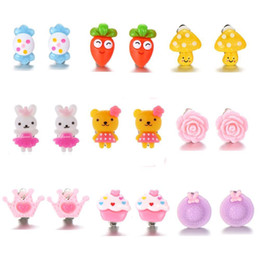 Mysream 9 Pairs on for Girls Gifts Jewelry Cute Cartoon Clip Earrings Set on Sale