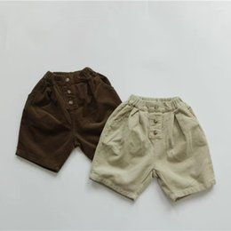 Discount white cargo shorts FM INS Korean Quality Styllish Kids Pants Spring Autumn Corduroy Cotton Front Buttons Girls Shorts Kids Bottoms Children Unisex Trousers