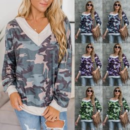Wholesale camouflage tee shirts for sale – custom Women Camouflage Top Long Sleeve T shirt Woman V Neck Loose Tops Tee Autumn Women Camouflage T Shirts Female Casual Top