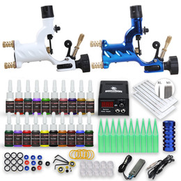 Wholesale Complete Tattoo Kit 2 Rotary Machine Dragonfly Gun Power Supply 20 Ink Disposable Needles Tips D175GD-16