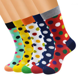 Wholesale happy socks resale online - 12pairs mixed color cotton mens socks Colorful Polka dots Happy socks men Calcetines Largos Hombre1