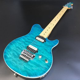 electric guitars flower 2021 - High-quality 6-string electric guitar with zebra pickup, basswood body, maple fingerboard with blue flower finish, free